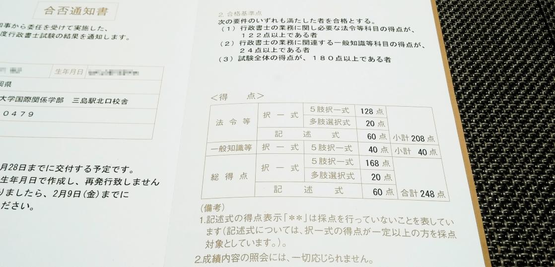 合格通知書
